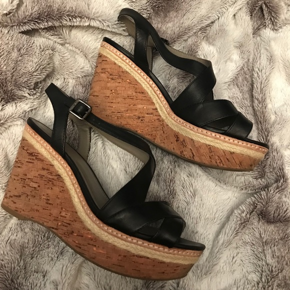 9117de39ed0 Vince Camuto Rina black wedge sandal